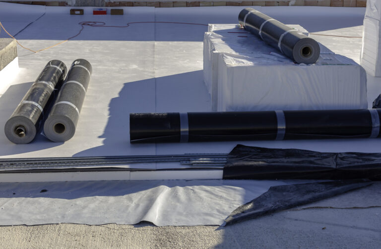 stratigraphy of the materials to waterproof a terrace in a new building with the following products:4 mm PVC, polystyrene, non-woven fabric and 2 mm polyethylene