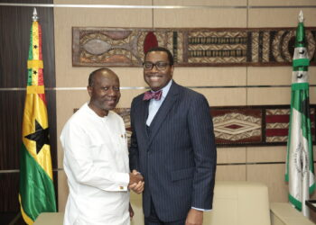 File photo: Ken Ofori-Atta, left, and Akinwumi Adesina, President of AfDB in a handshake