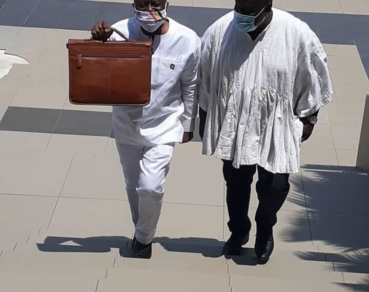 Finance Minister Ken Ofori-Atta (left) on his way to deliver the mid-year budget