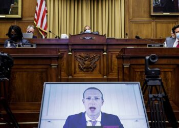 WASHINGTON, DC - JULY 29: Facebook CEO Mark Zuckerberg speaks via video conference during the House Judiciary Subcommittee on Antitrust, Commercial and Administrative Law hearing on Online Platforms and Market Power in the Rayburn House office Building, July 29, 2020 on Capitol Hill in Washington, DC. (Photo by Graeme Jennings-Pool/Getty Images)