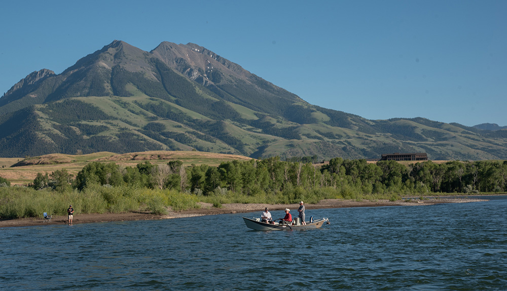 Fishing boat in front of Emigrant Peak, Montana.
