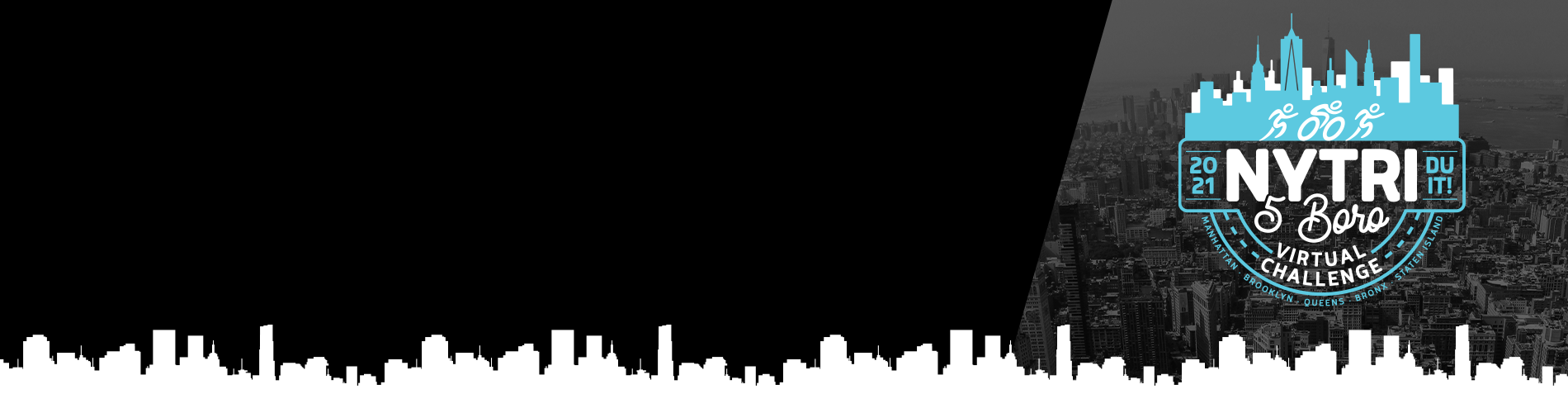 NYTriathlon - 5boro virtual challenge logo - NYC in the background