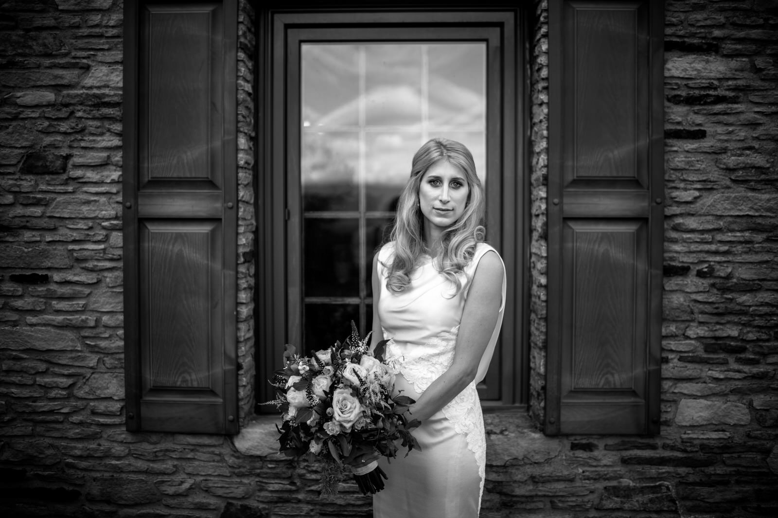Elegant bride in black and white portrait