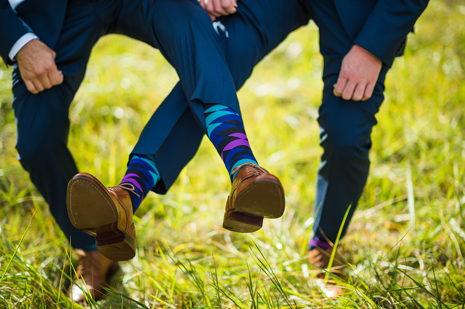 Groom and Groomsmen's socks during a Whidbey Island wedding at Comforts Winery