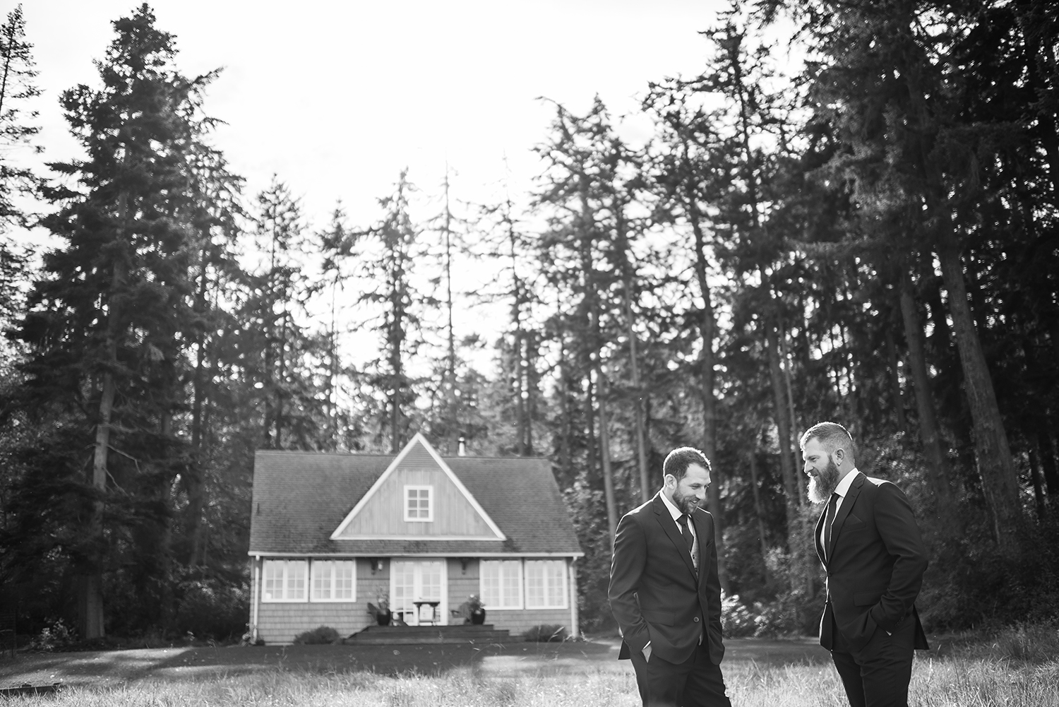 Groom and Best man black and white during a Whidbey Island wedding at Comforts Winery