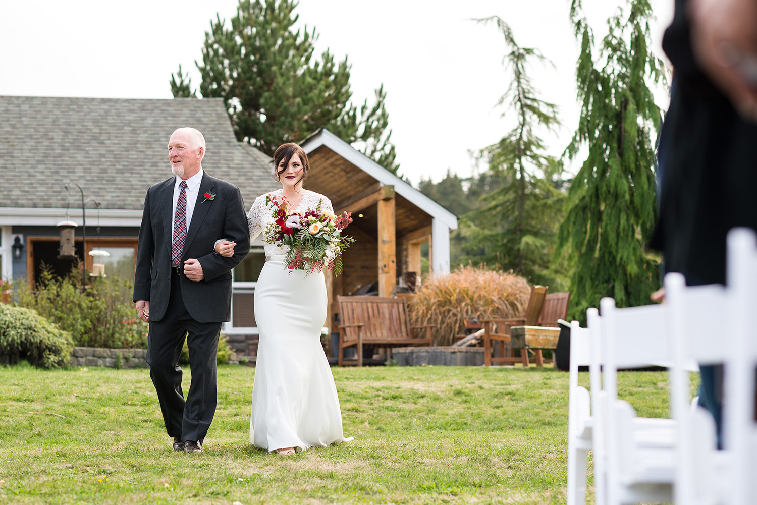 Bride walking down the aisle during a Whidbey Island wedding