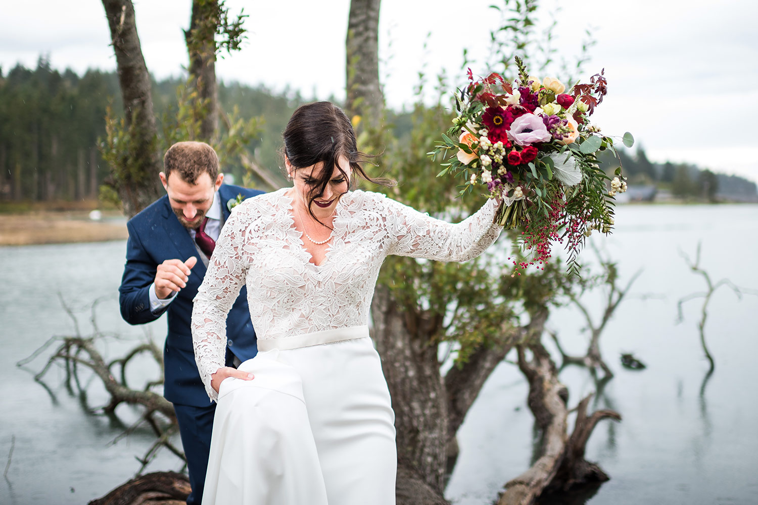Bride and Groom Portraits on Whidbey Island after wedding ceremony