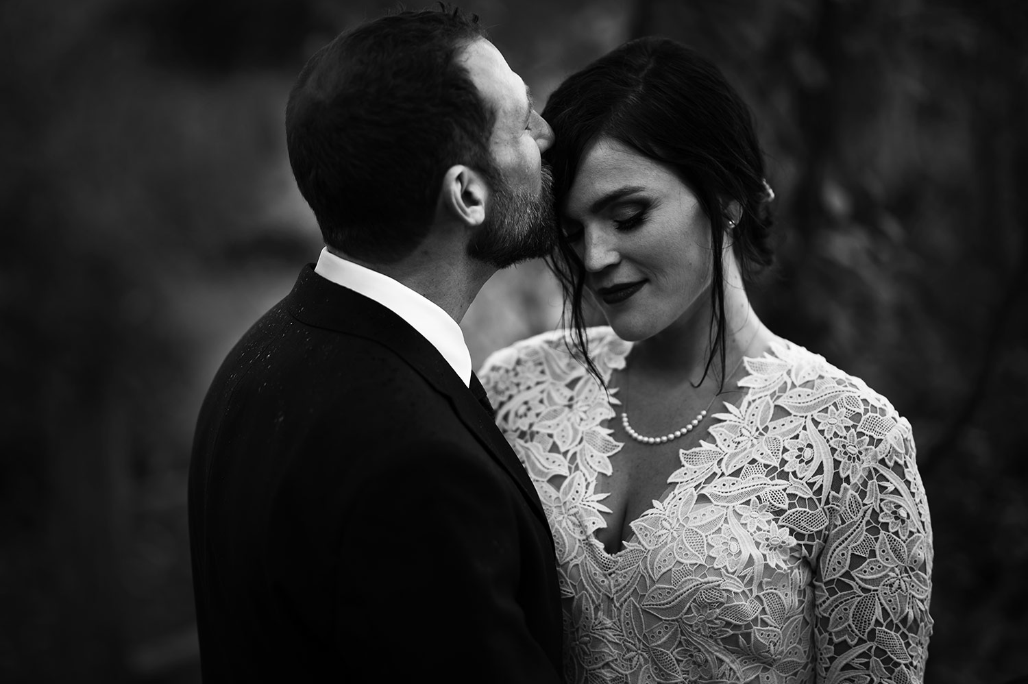 Black and White Bride and Groom Portraits on Whidbey Island after wedding ceremony