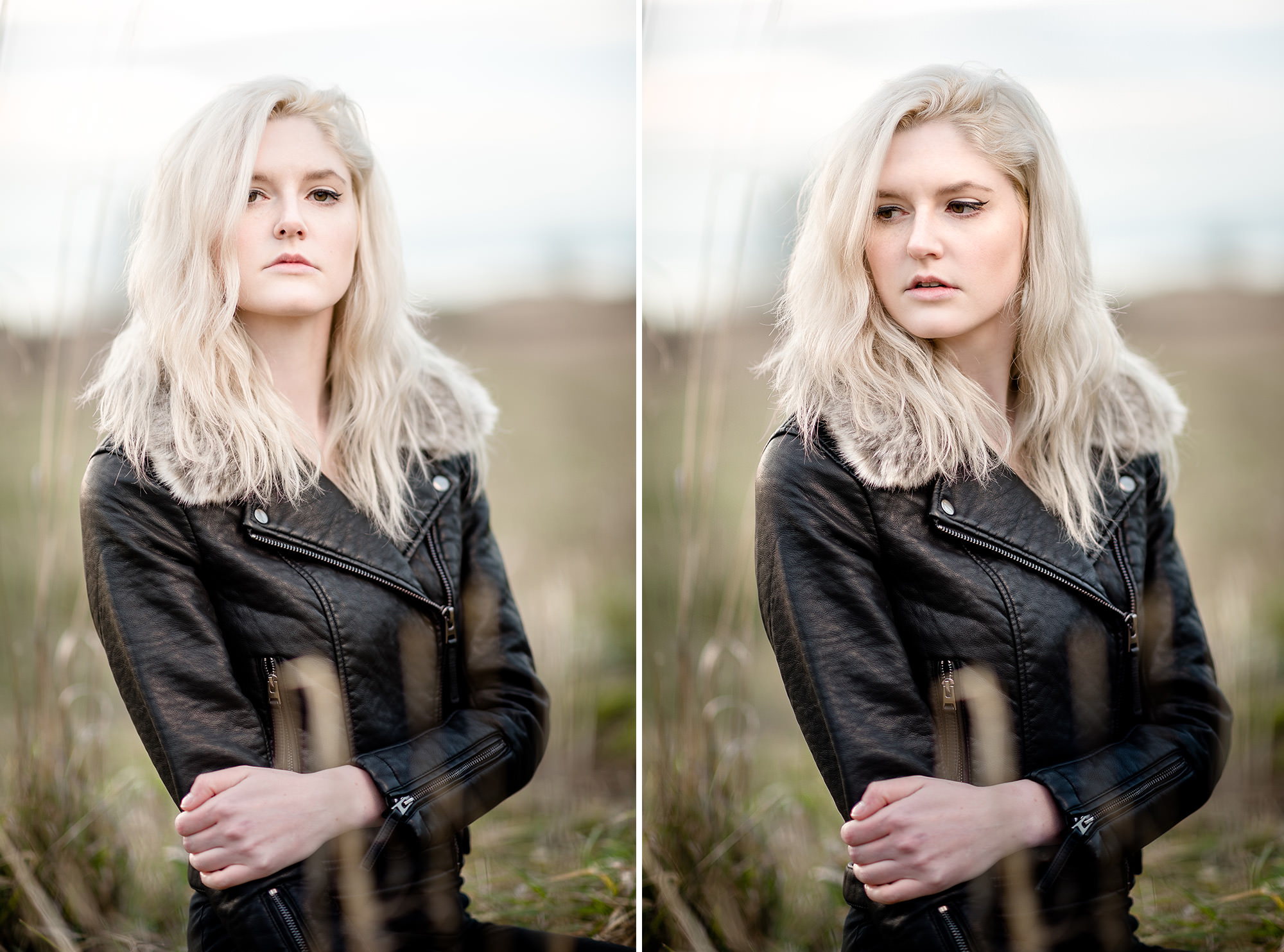 Seattle Fashion model portrait in leather jacket in natural light