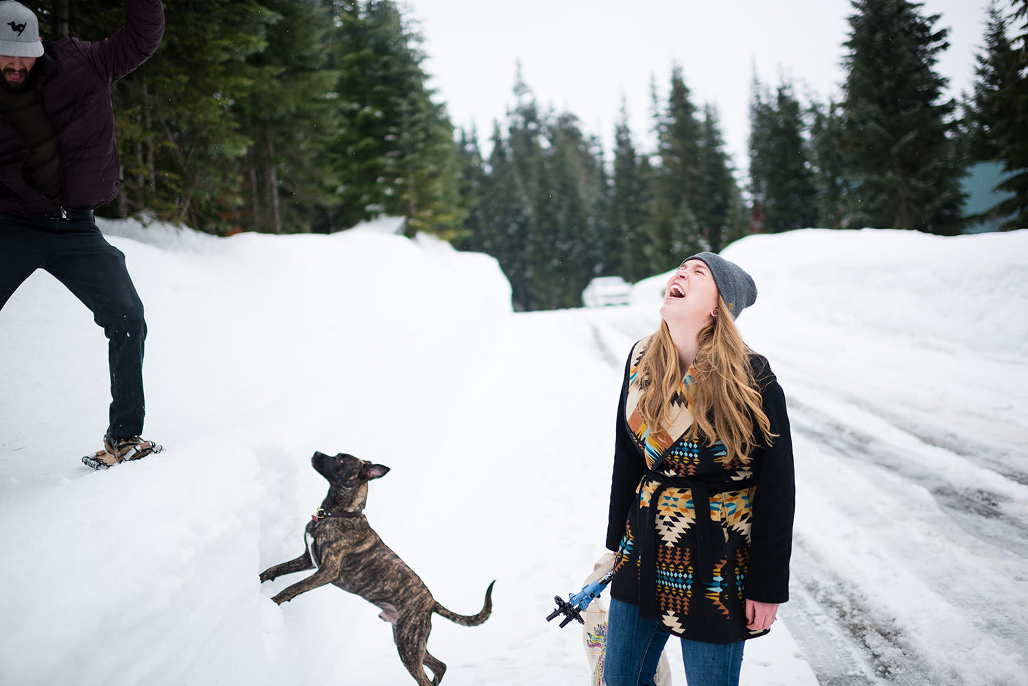 Snowshoe engagement session at Snoqualmie Pass outside Seattle with Dog