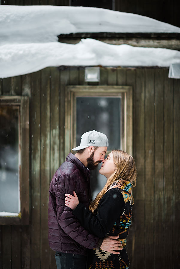 Cabin and Snowshoes engagement session at Snoqualmie Pass outside Seattle
