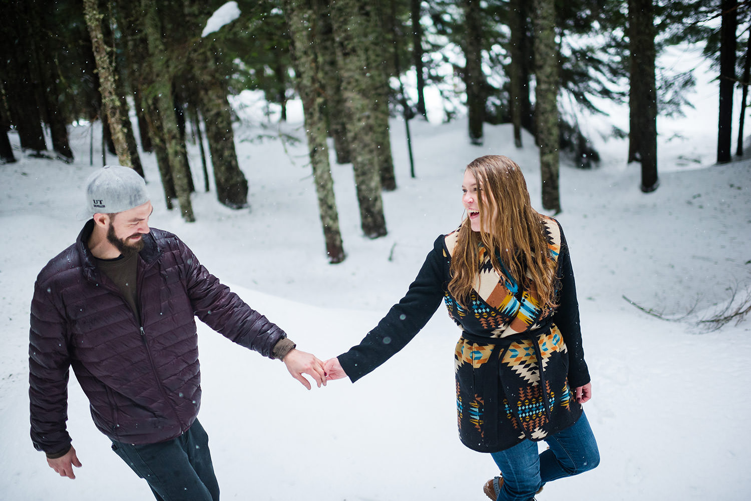 Walking in the snow engagement session