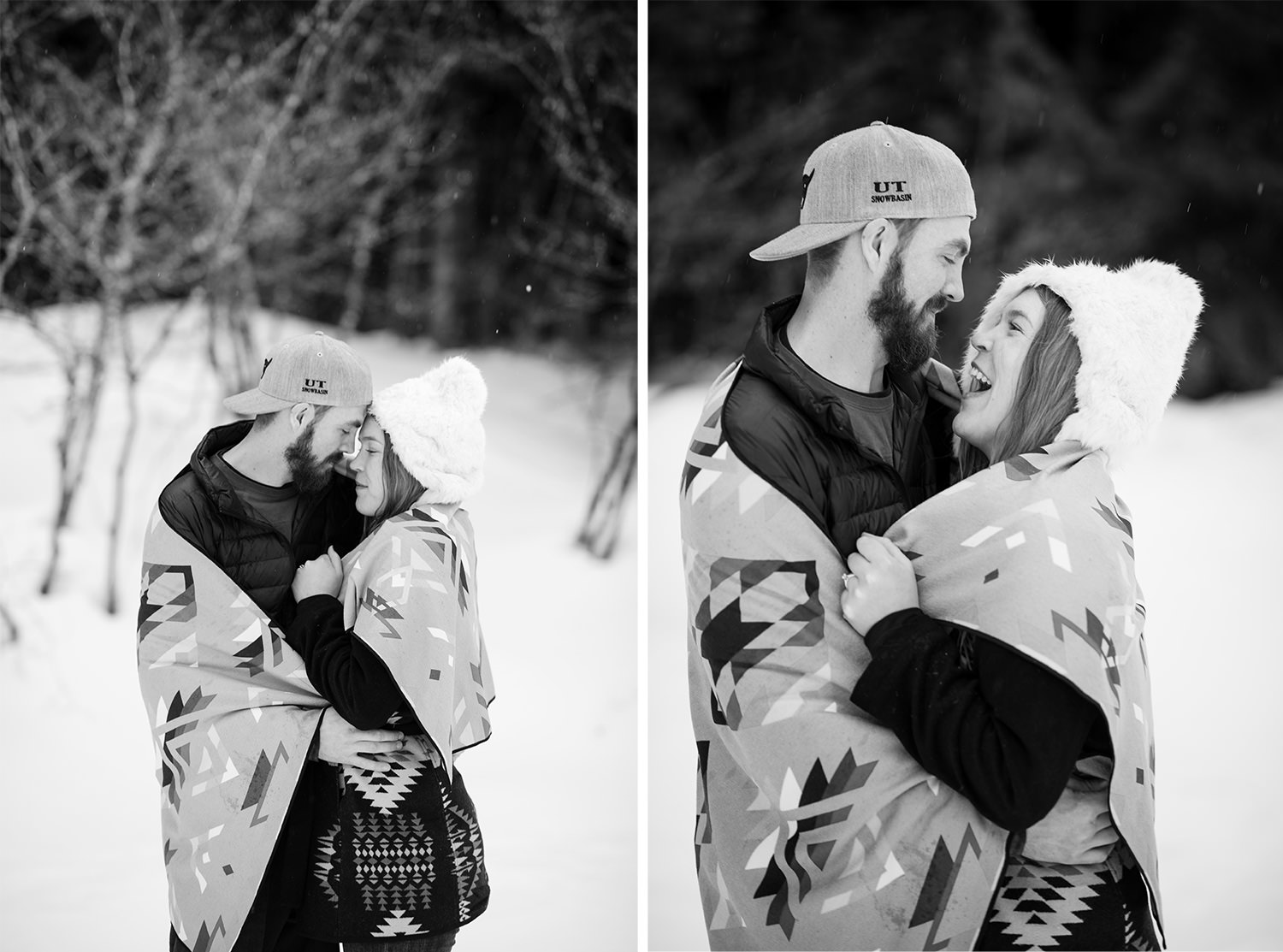 Black and White Engagement session wrapped in a blanket in the snow kissing and laughing