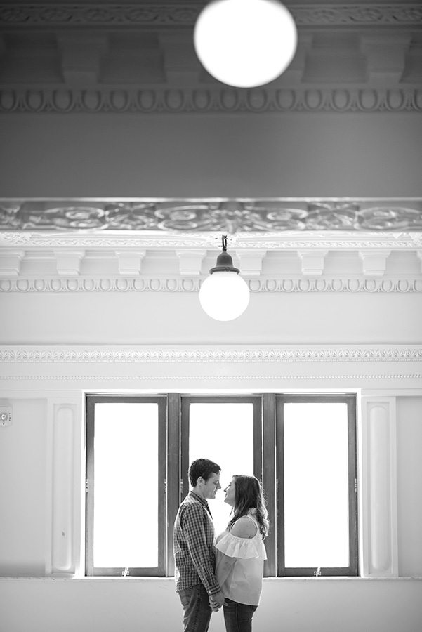 King Street Station Seattle Engagement Session in black and white