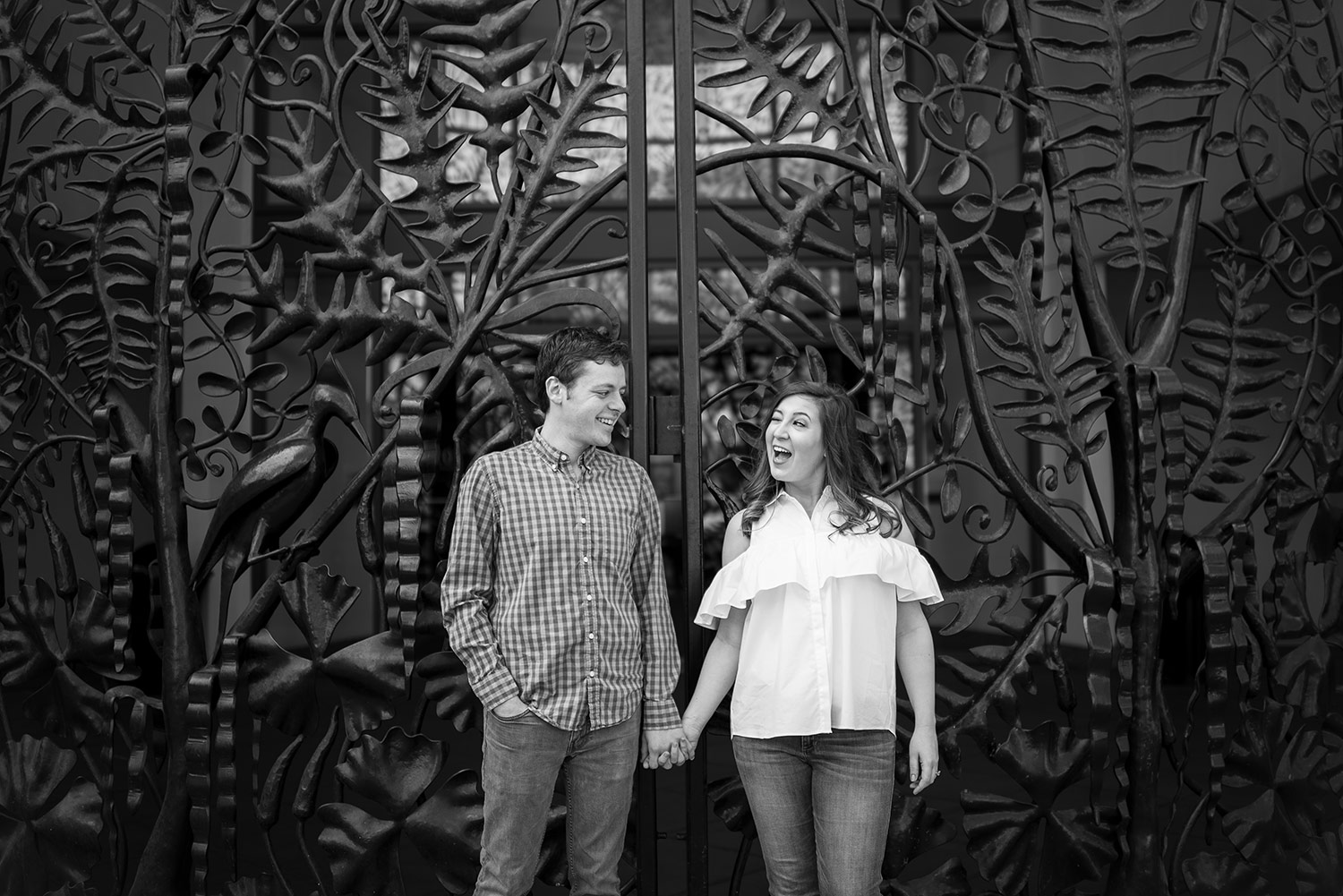 Downtown Seattle Engagement Session with wrought iron gate