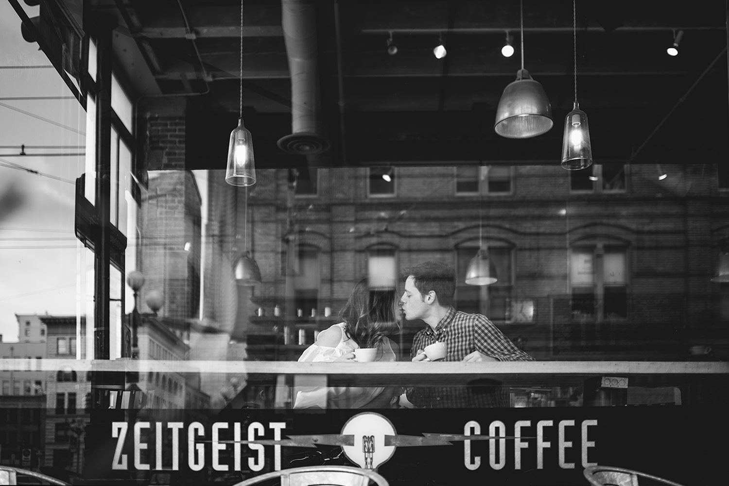 Downtown Seattle Engagement Session at Zeitgeist coffee