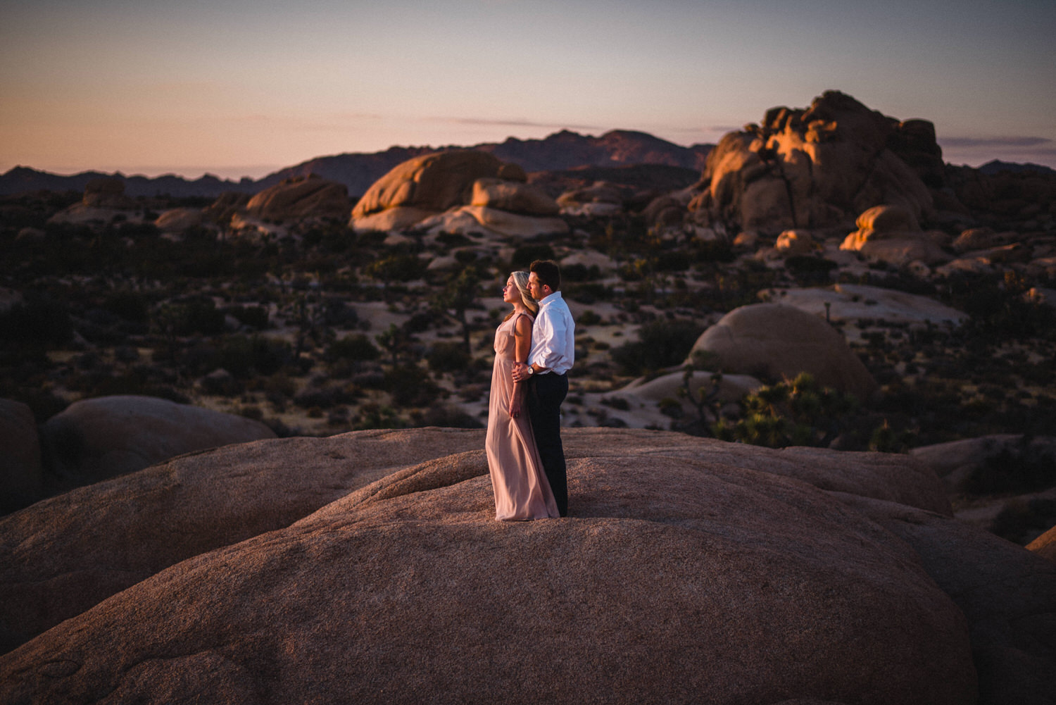 Tucson photographer shooting sunset engagement session in Joshua Tree desert
