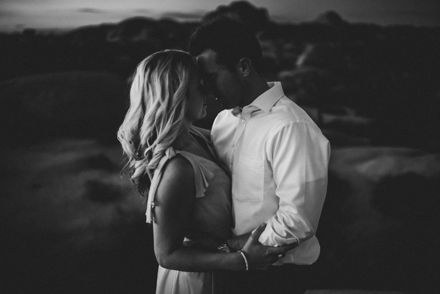 Black and white desert engagement session from Tucson photographer