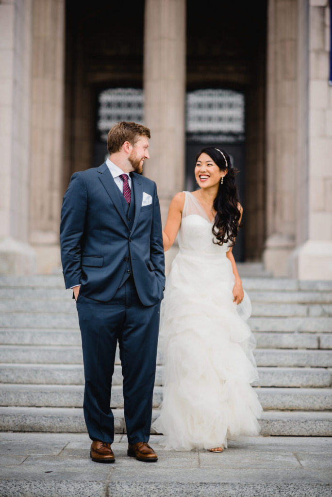 First look in Seattle on wedding day for bride and groom