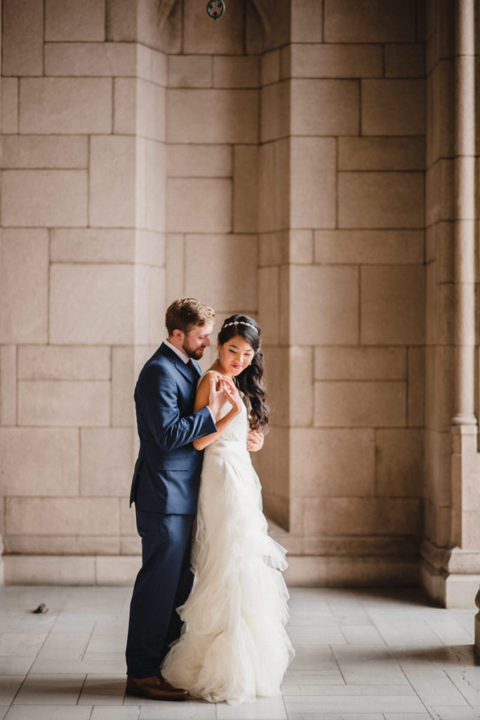 Bride and groom's portraits on their wedding day in Seattle at the University of Washington