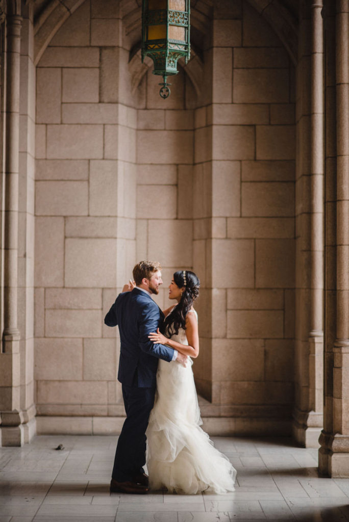 Bride and groom dancing on their wedding day in Seattle at the University of Washington