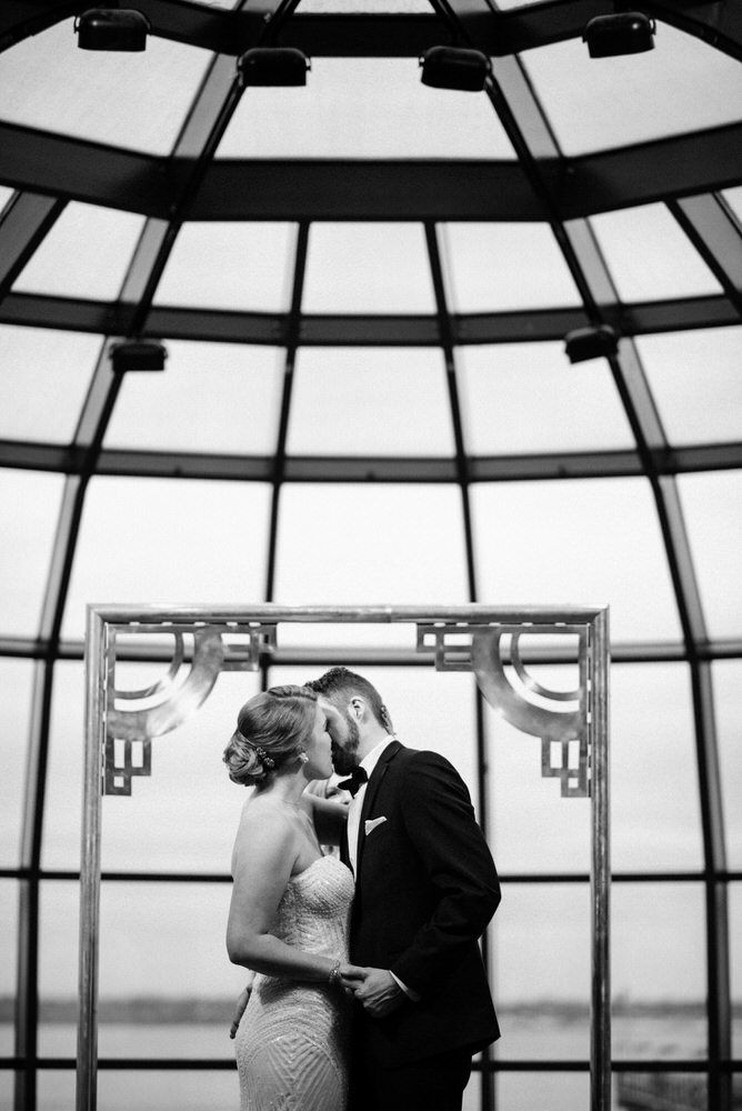 First kiss at wedding in Bellingham Cruise Terminal