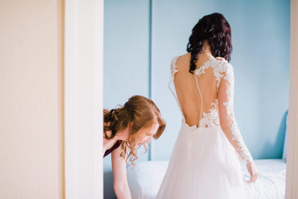 Bride getting ready at Fort Worden