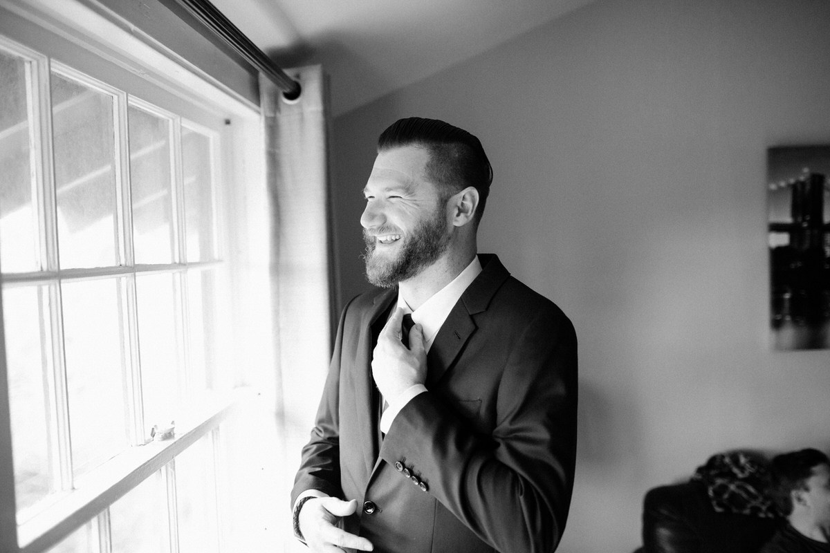 Groom at Fort Worden getting ready