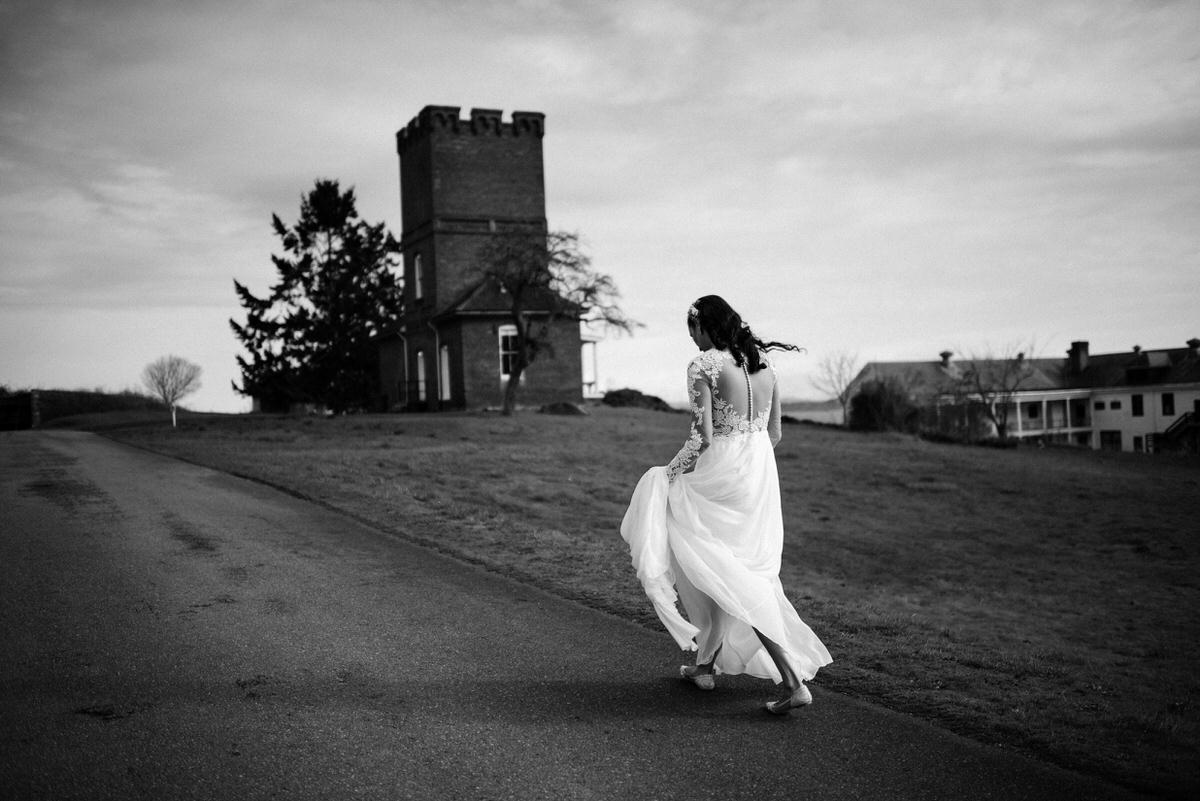 First look Bride and Groom at Fort Worden