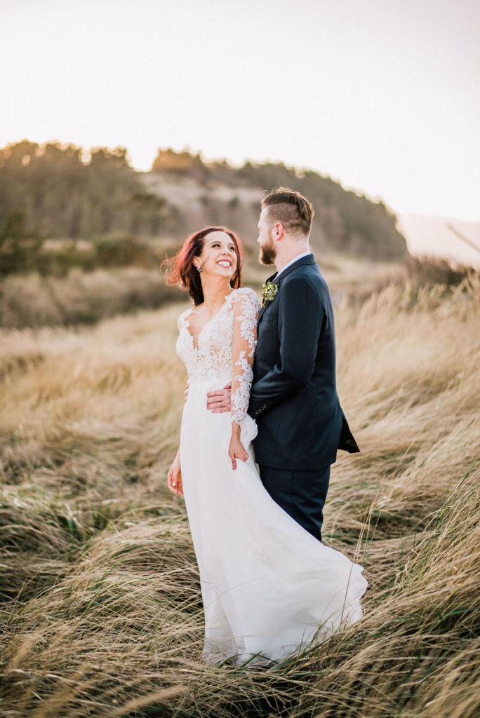 Bride and Groom Portrait in tall grass, Tucson