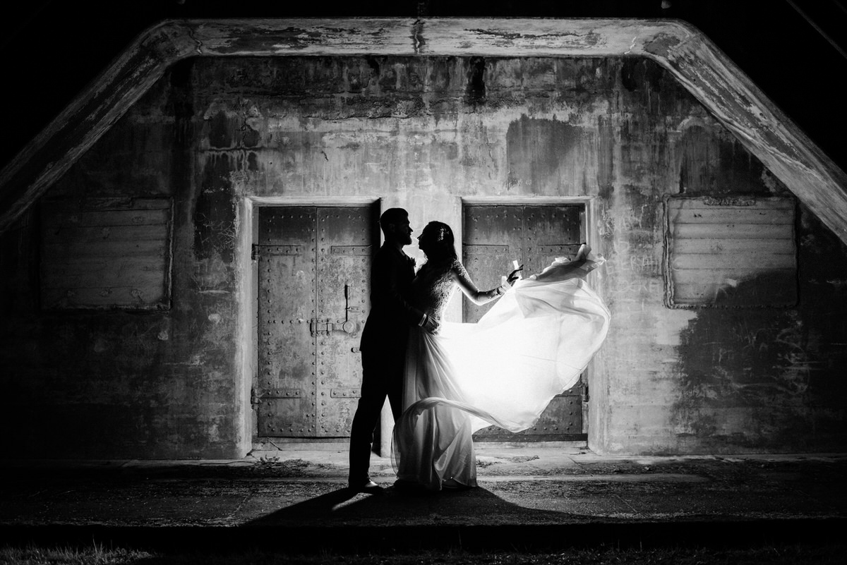 Bride and Groom at night at Fort Worden