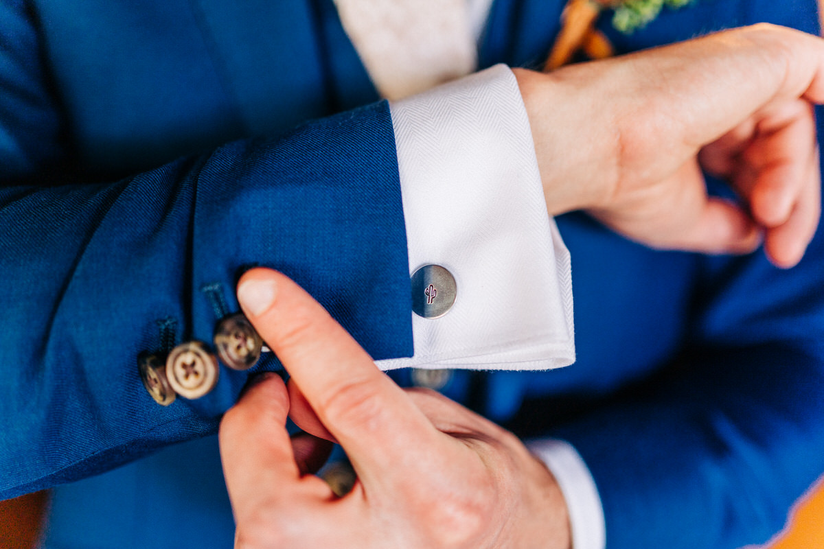 Cactus cufflinks at Tucson wedding