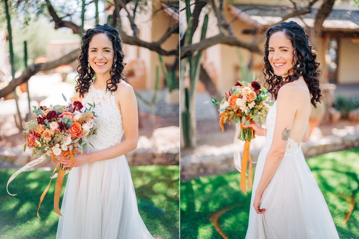 Bride with bouquet at Tanque Verde Ranch in Tucson, Arizona
