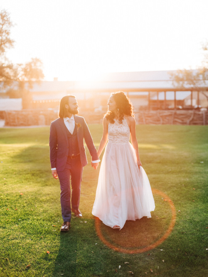 Bride and Groom at Sunset at Tanque Verde Ranch