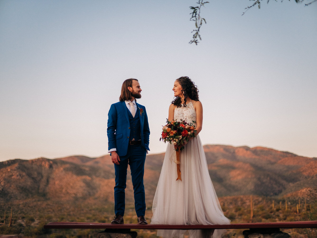 Mount Lemmon sunset wedding portraits at Tanque Verde Ranch in Tucson