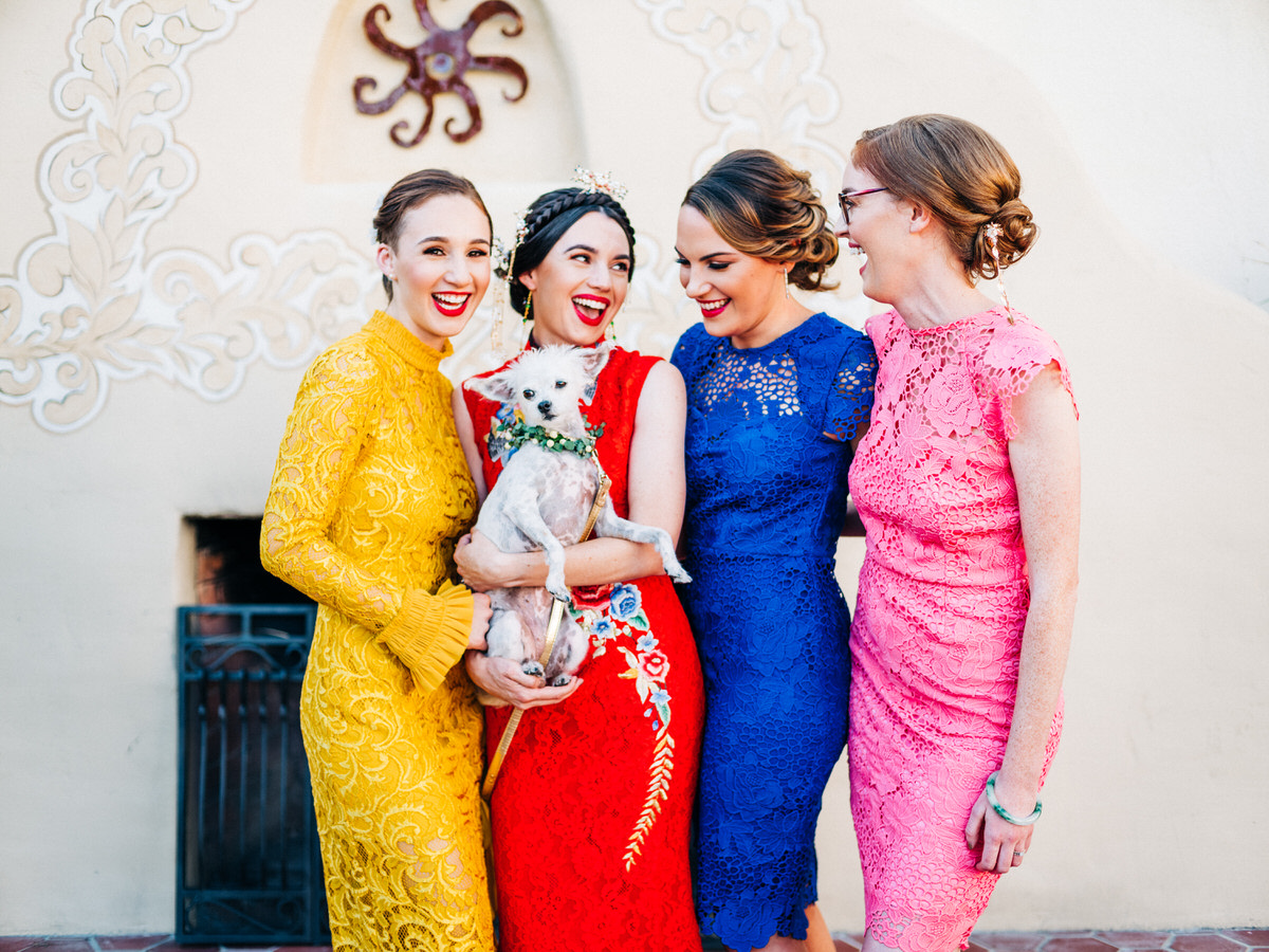 Colorful bridesmaids dresses at Hacienda Del Sol wedding in Tucson