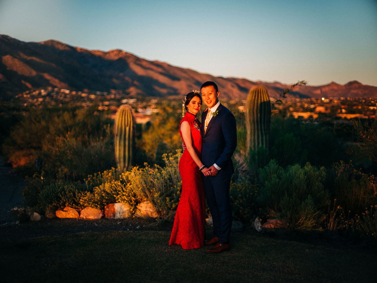 Hacienda Del Sol sunset wedding with Bride and Groom