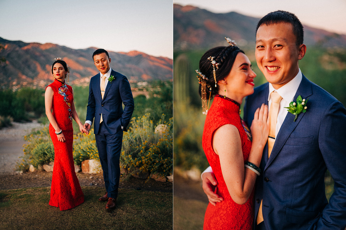 Sunset wedding in Tucson at Hacienda Del Sol