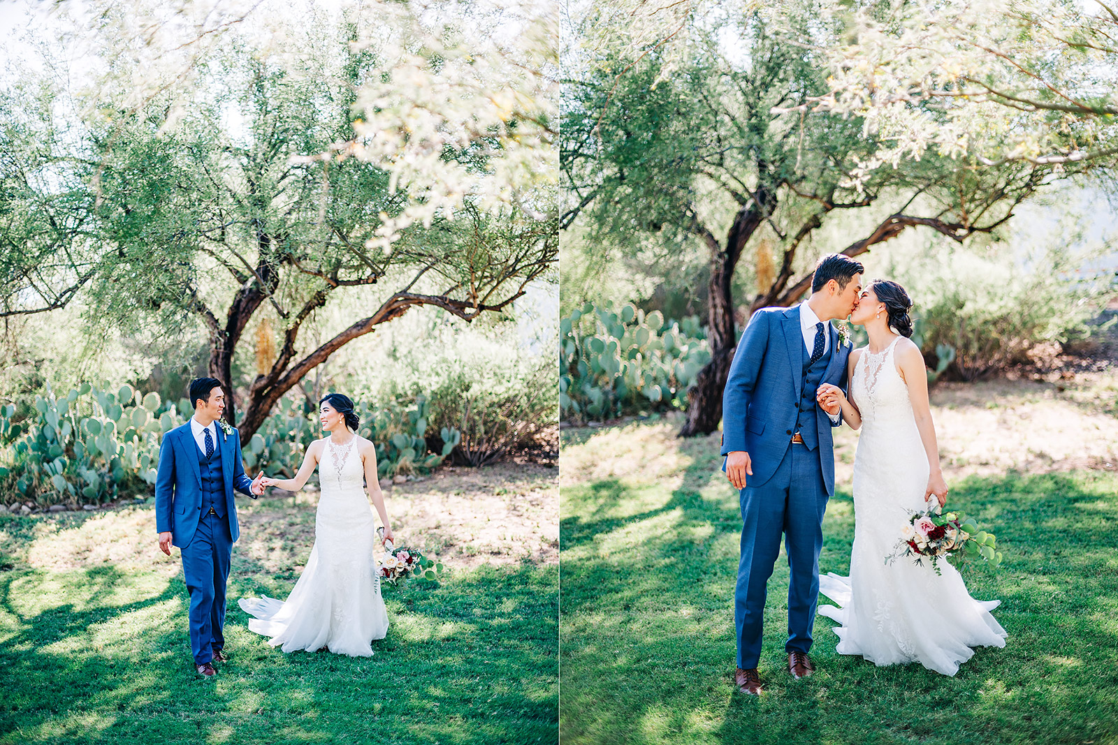 Bride and Groom walking and kissing in grassy area at the Saguaro Lake Ranch