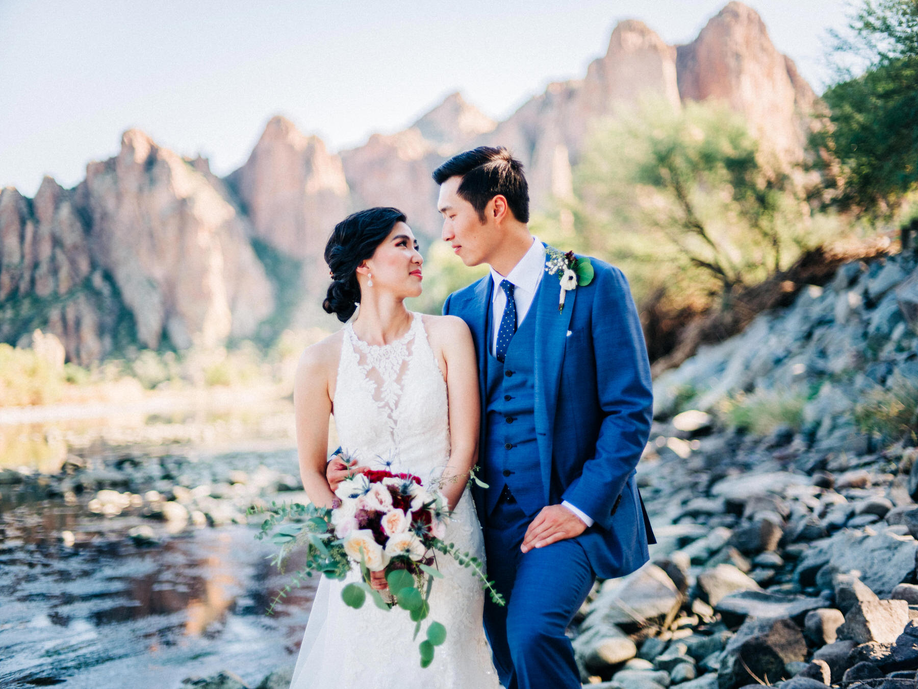 Bride and Groom married in the mountains outside Scottsdale, Arizona