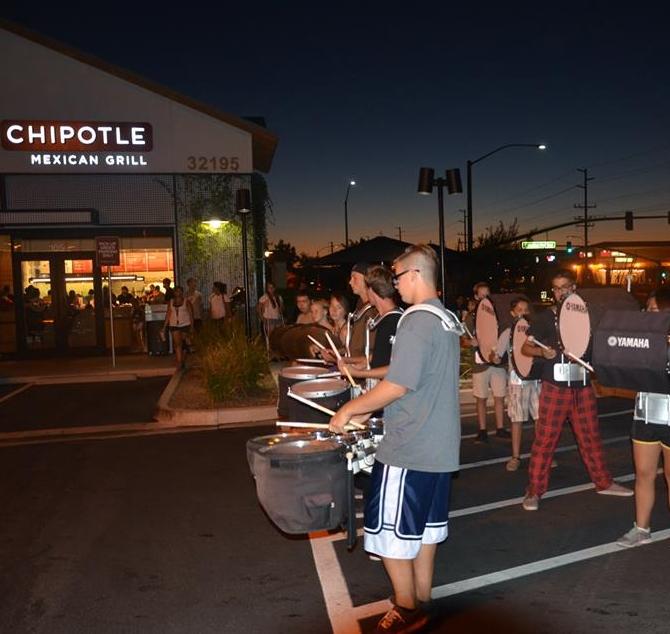 Drum line at Chipolte