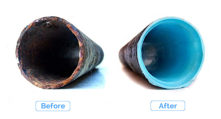 cured-in-place pipe before and after