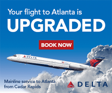 Delta Airlines Advertisement: Your flight to Atlanta is Upgraded. Book now.