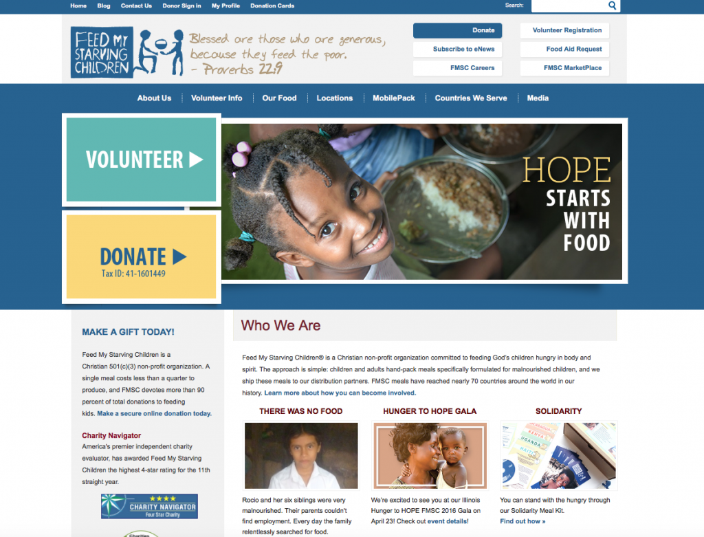 Giving back – Feed My Starving Children