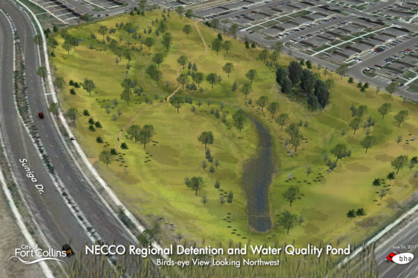 NECCO Regional Stormwater Detention and Water Quality Pond – Bird's Eye Rendering