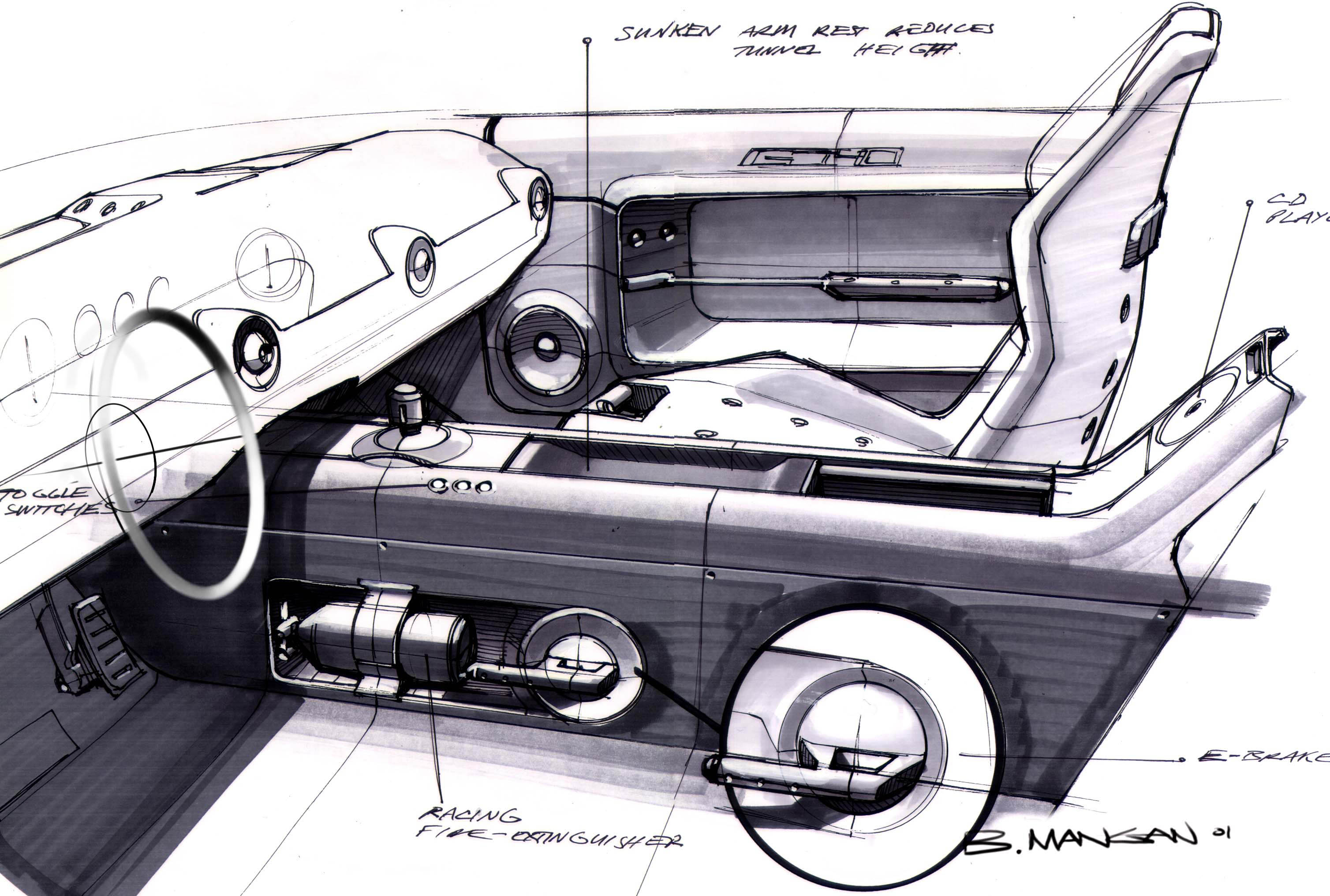 Ford GT40 Concept Interior Seat Sketch