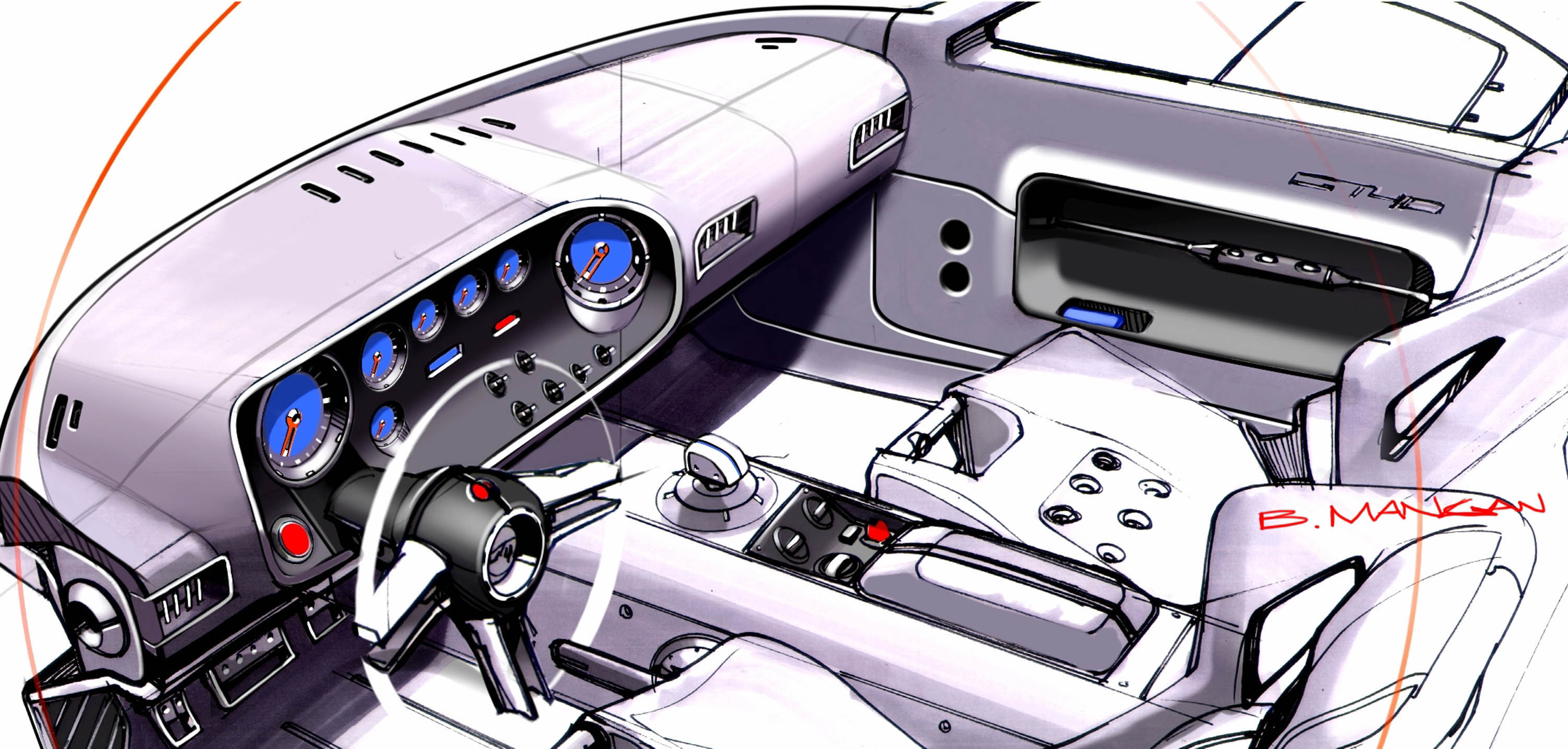 Ford GT40 Interior Sketch