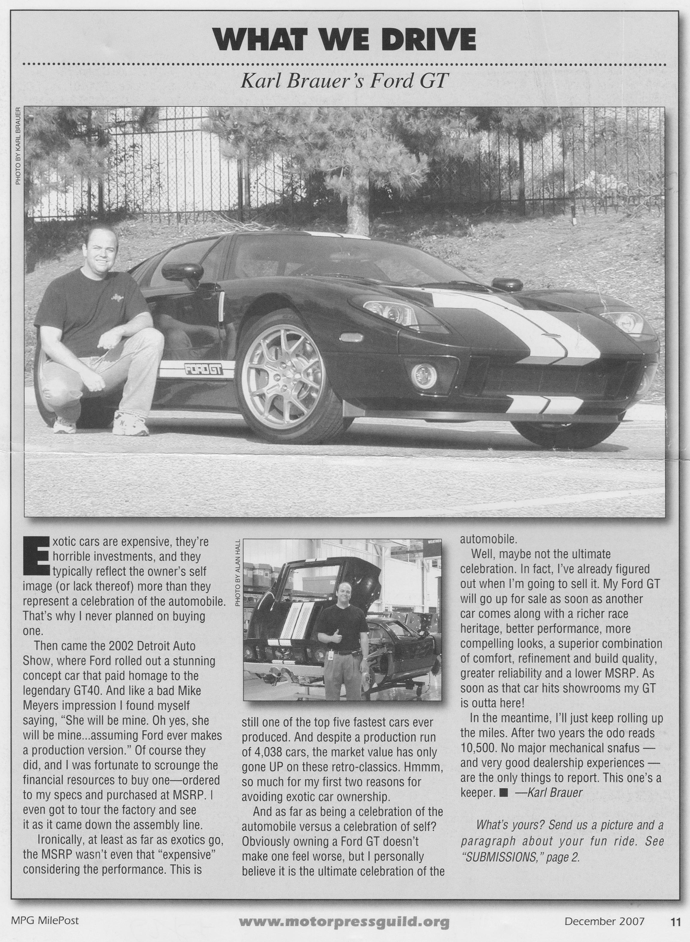 Ford GT Karl Brauer MPG Newsletter