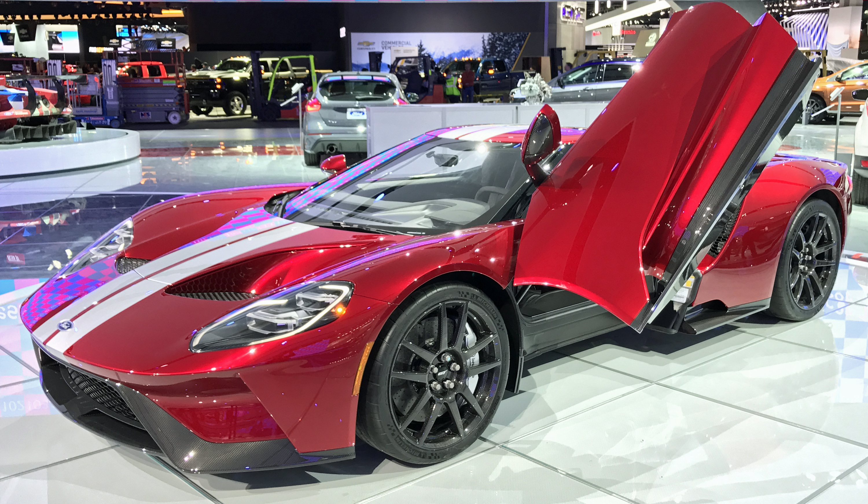 New Ford GT Red Silver Detroit 2017