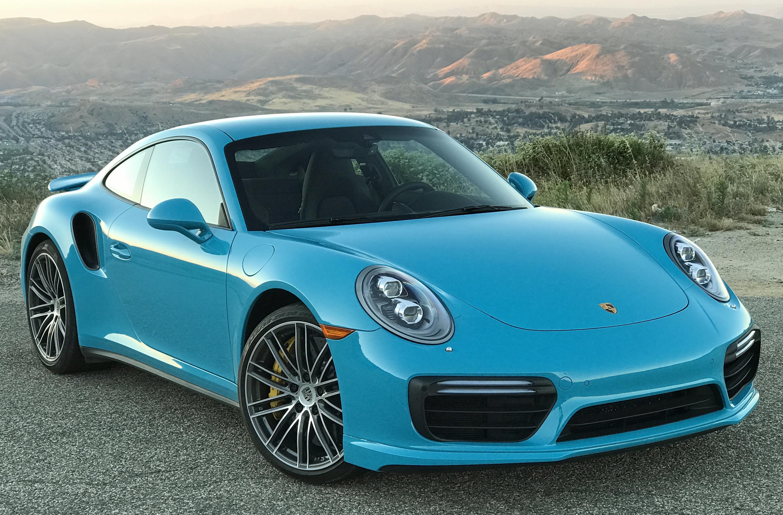 2017 Porsche 911 Turbo S Front Miami Blue